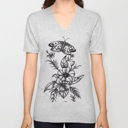 Flower Design Unisex V-Neck