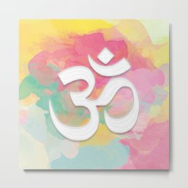 Crown Chakra Symbol & Delicate Watercolor Metal Print
