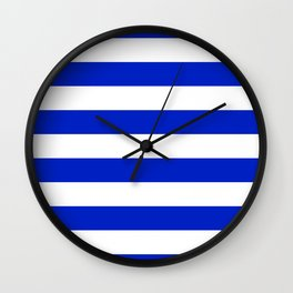 Cobalt Blue and White Wide Cabana Tent Stripe Wall Clock