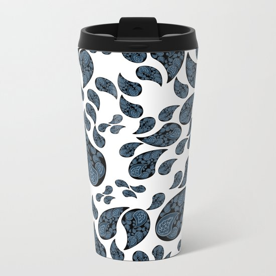 Paisley turquoise, black and white. Metal Travel Mug