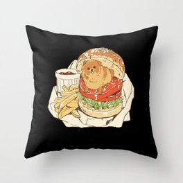 dog in hamburger Throw Pillow
