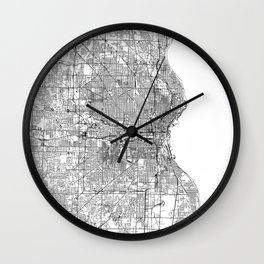 Milwaukee White Map Wall Clock