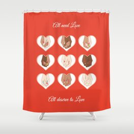 """""""All Deserve to Love"""" Holding hands couples of different people (and homosexual couples) Shower Curtain"""