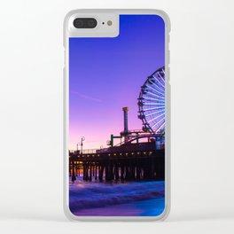Santa Monica purple sunset Clear iPhone Case