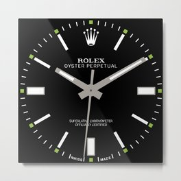 Rolex Oyster Perpetual - 114300 - Black Dial Metal Print
