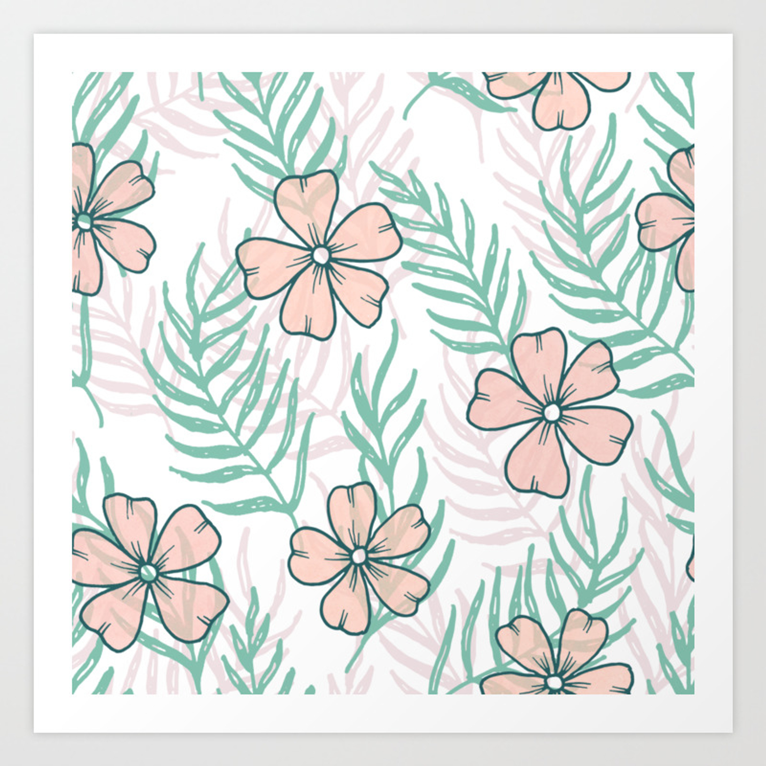 Tropical Flowers And Palm Leaves Pastel Drawing Botanical Pattern Art Print By Palettepursuit Society6