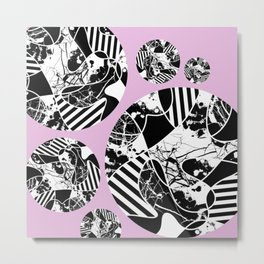 Black And White Bubbles 2 - Multi patterned, multi textured stripes, paint splats and marble on pink Metal Print