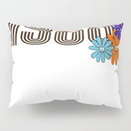 1968 Hippie Peace Sign Flower Orange Aqua Purple Pillow Sham