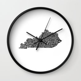 Typographic Kentucky Wall Clock