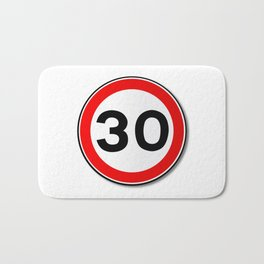 30 MPH Limit Traffic Sign Bath Mat