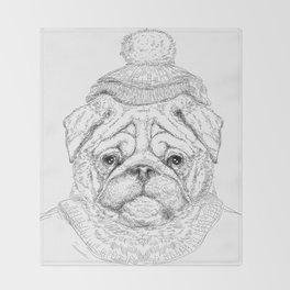Hipster dog Throw Blanket