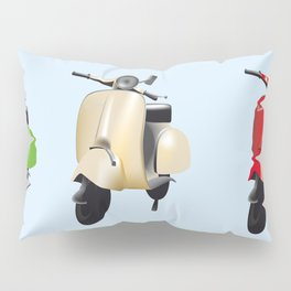 Three Vespa scooters in the colors of the Italian flag Pillow Sham