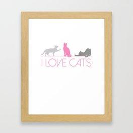 I Love Cats (Pink & Grey) Framed Art Print
