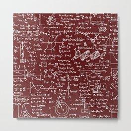 Physics Equations // Burgundy Metal Print