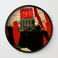 shaun of the dead Wall Clocks featuring Shaun Of The Dead by Duke Dastardly