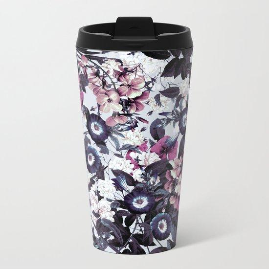 Bohemian Floral Nights Pink and Gray Metal Travel Mug