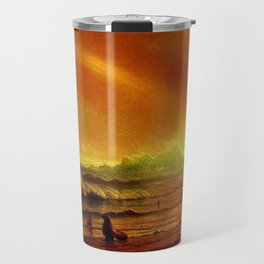 Classical Masterpiece Coastal Sunset by Albert Bierstadt Travel Mug