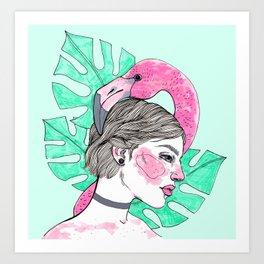Flamingo girl Art Print