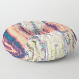 Copper Pastel Menagerie Fractal Abstract Floor Pillow