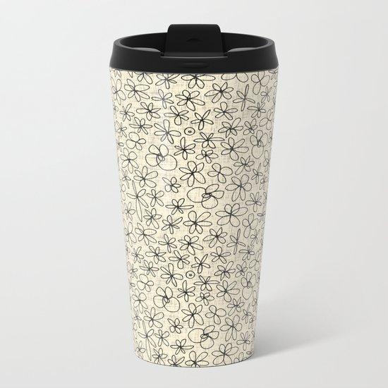 garland flowers ivory Metal Travel Mug
