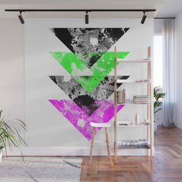 Descent - Geometric Abstract In Black, Green And Pink Wall Mural