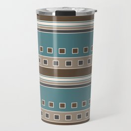 Squares and Stripes in Brown and Teal Travel Mug