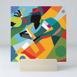Abstract colorful artwork of saxaphone player Mini Art Print