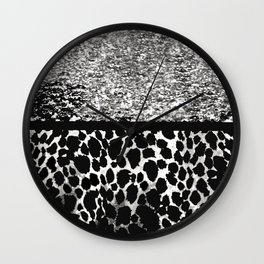 ANIMAL PRINT CHEETAH SPARKLE SILVER AND BLACK PATTERN Wall Clock