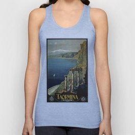 Vintage Taormina Sicily Italian travel ad Unisex Tank Top