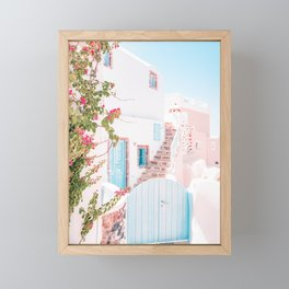 Santorini Greece Mamma Mia Pink House Travel Photography Framed Mini Art Print