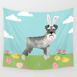 Schnauzer easter dog breed pet pattern rescue dog schnauzers lovers spring easter eggs Wall Tapestry