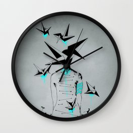 Origami's dream - A collaboration between Christelle Guilhen and Gwenola de Muralt - Wall Clock