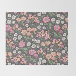 Floral Flowers Vintage Garden Pink Red Peach On Dark Grey Throw Blanket