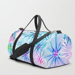 Flashy Colorful Tropical Flowers Design Duffle Bag