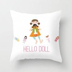 HELLO DOLL 2 Throw Pillow
