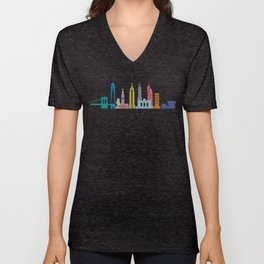 New York Skyline Black Unisex V-Neck