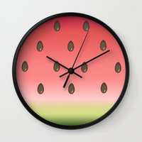 watermelon Wall Clocks featuring Watermelon by Julia Badeeva