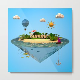 summer holiday with low poly style Metal Print