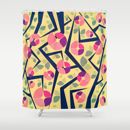 Blooming Trees Pattern Shower Curtain