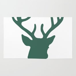 Deer Head: Green Rug