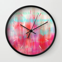 Color Song - abstract in pink, coral, mint, aqua Wall Clock
