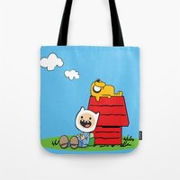 peanuts Tote Bags featuring Peanuts time by geminiska