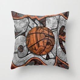 Black Basketball Graffiti on Brick Wall Throw Pillow