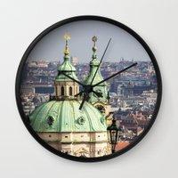 prague Wall Clocks featuring Prague by Veronika