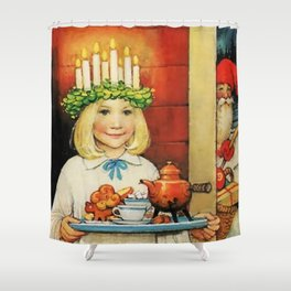 """""""Christmas Tea"""" by Jenny Nystrom Shower Curtain"""