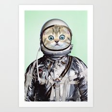 Space Kitten Green Art Print