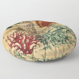 french botanical art music notes starfish seashell Floor Pillow