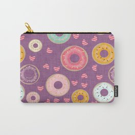hearts and donuts purple Carry-All Pouch
