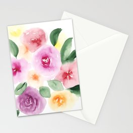 Modern abstract bright loose floral watercolor pattern Stationery Cards