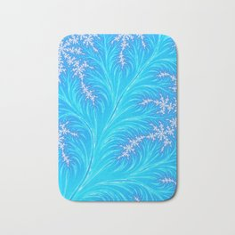 Abstract Aqua Blue Christmas Tree Branch with White Snowflakes Bath Mat